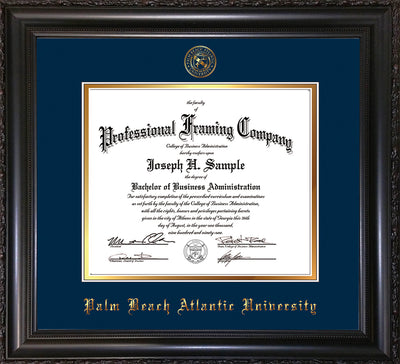 Image of Palm Beach Atlantic University Diploma Frame - Vintage Black Scoop - w/Embossed Seal & Name - Navy on Gold mats