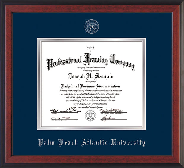 Image of Palm Beach Atlantic University Diploma Frame - Cherry Reverse - w/Silver Embossed Seal & Name - Navy on Silver mats