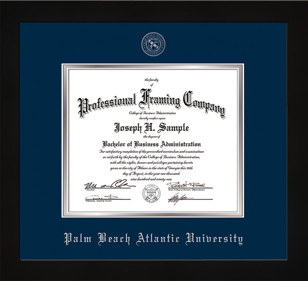 Image of Palm Beach Atlantic University Diploma Frame - Flat Matte Black - w/Silver Embossed Seal & Name - Navy on Silver mats