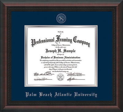 Image of Palm Beach Atlantic University Diploma Frame - Mahogany Braid - w/Silver Embossed Seal & Name - Navy on Silver mats