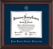 Image of Palm Beach Atlantic University Diploma Frame - Mahogany Lacquer - w/Silver Embossed Seal & Name - Navy on Silver mats