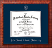Image of Palm Beach Atlantic University Diploma Frame - Mezzo Gloss - w/Silver Embossed Seal & Name - Navy on Silver mats