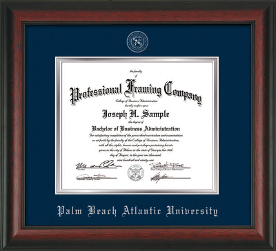 Image of Palm Beach Atlantic University Diploma Frame - Rosewood - w/Silver Embossed Seal & Name - Navy on Silver mats
