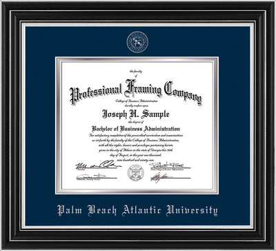 Image of Palm Beach Atlantic University Diploma Frame - Satin Silver - w/Silver Embossed Seal & Name - Navy on Silver mats