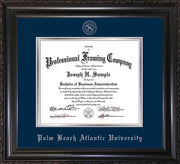 Image of Palm Beach Atlantic University Diploma Frame - Vintage Black Scoop - w/Silver Embossed Seal & Name - Navy on Silver  mats