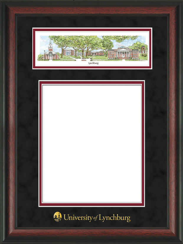 Image of University of Lynchburg Diploma Frame - Rosewood - w/Embossed School Name Only - Campus Collage - Black Suede on Crimson mat