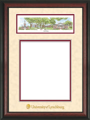 Image of University of Lynchburg Diploma Frame - Rosewood - w/Embossed School Name Only - Campus Collage - Cream Suede on Crimson mat