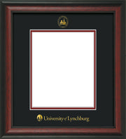 Image of University of Lynchburg Diploma Frame - Rosewood - w/Embossed UL Seal & Name - Black on Crimson mat