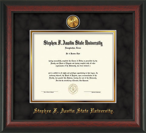 Image of Stephen F. Austin State University Diploma Frame - Rosewood - w/24k Gold-Plated Medallion SFA Name Embossing - Black Suede on Gold mats