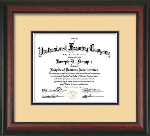 Horizontal image of the Custom Rosewood Art and Document Frame with Cream on Black Mat