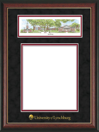 Image of University of Lynchburg Diploma Frame - Rosewood w/Gold Lip - w/Embossed School Name Only - Campus Collage - Black Suede on Crimson mat