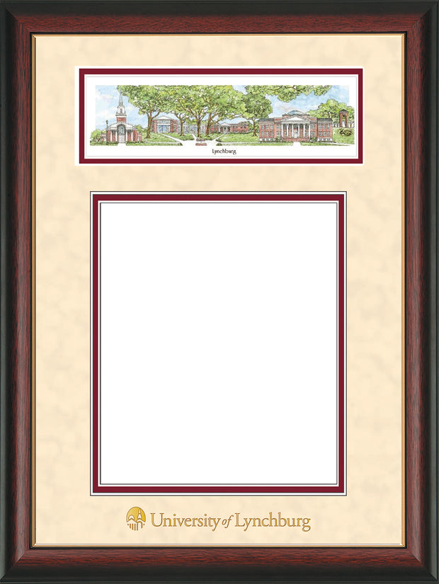 Image of University of Lynchburg Diploma Frame - Rosewood w/Gold Lip - w/Embossed School Name Only - Campus Collage - Cream Suede on Crimson mat