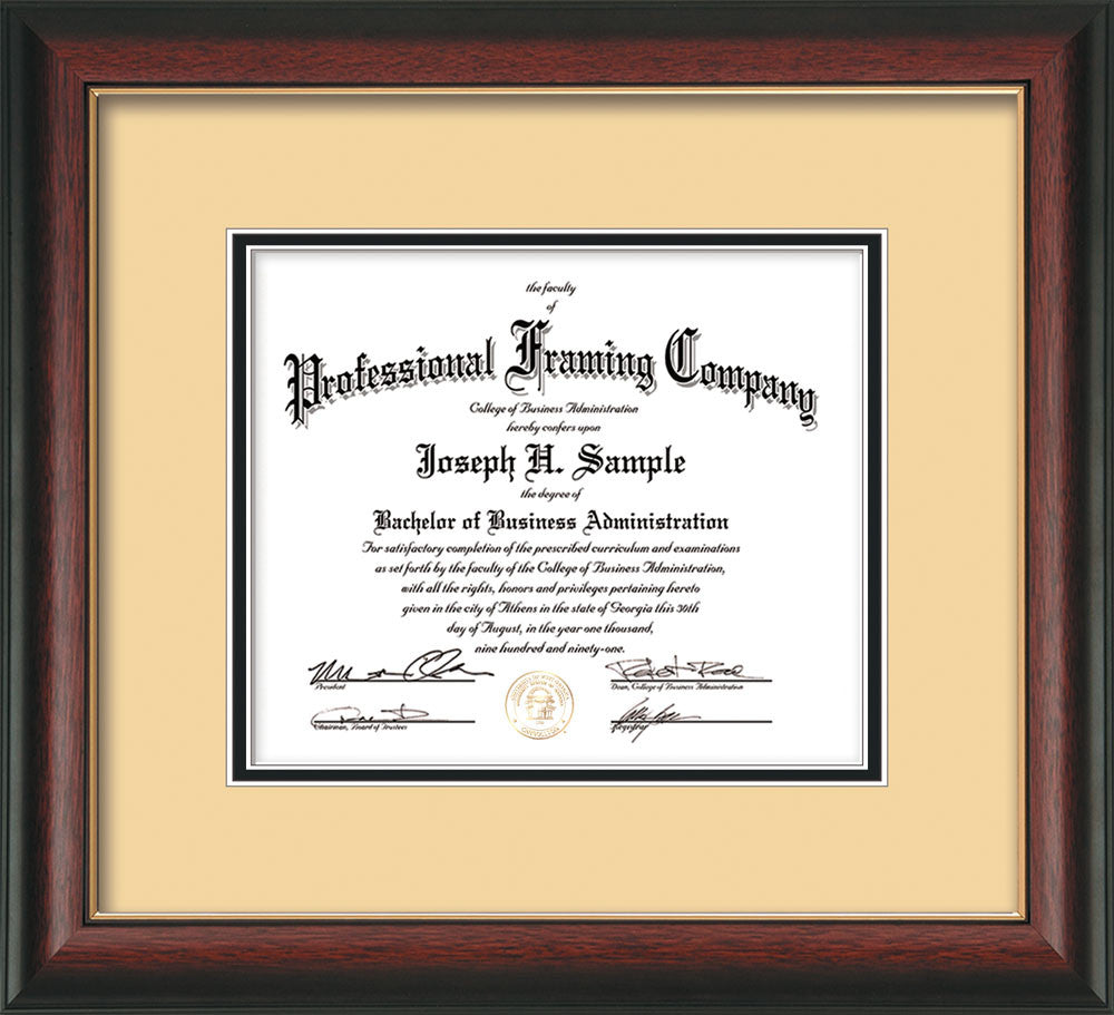 Rosewood with Gold Lip Document - Certificate Frame - Cream on Black ...