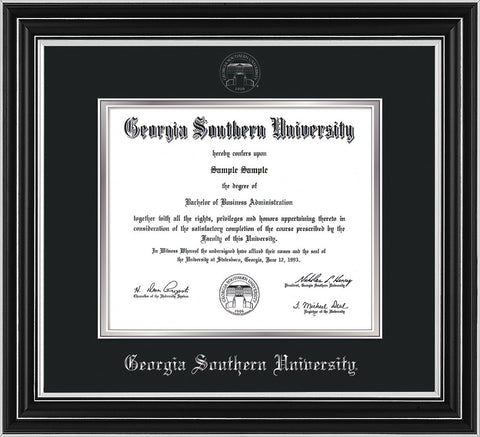 Image of Georgia Southern University Diploma Frame - Satin Silver - w/Silver Embossed Seal & Name - Black on Silver mat