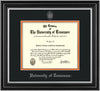 Image of University of Tennessee Diploma Frame - Satin Silver - w/Embossed UTK Seal & Name - Silver Embossing - Black on Orange Mat