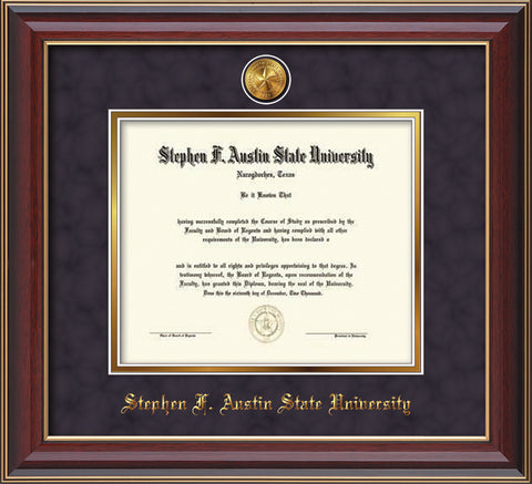 Image of Stephen F. Austin State University Diploma Frame - Cherry Lacquer - w/24k Gold-Plated Medallion SFA Name Embossing - Purple Suede on Gold mats
