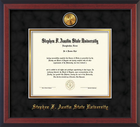 Image of Stephen F. Austin State University Diploma Frame - Cherry Reverse - w/24k Gold-Plated Medallion SFA Name Embossing - Black Suede on Gold mats