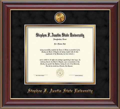 Image of Stephen F. Austin State University Diploma Frame - Cherry Lacquer - w/24k Gold-Plated Medallion SFA Name Embossing - Black Suede on Gold mats