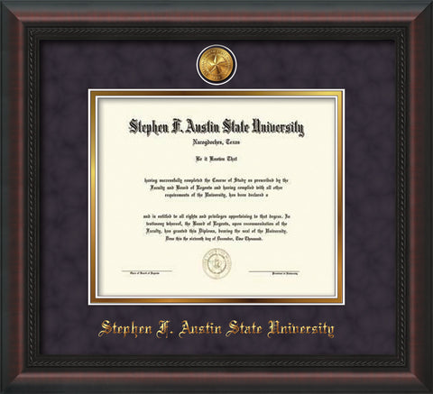 Image of Stephen F. Austin State University Diploma Frame - Mahogany Braid - w/24k Gold-Plated Medallion SFA Name Embossing - Purple Suede on Gold mats