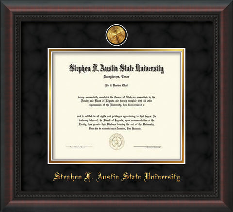 Image of Stephen F. Austin State University Diploma Frame - Mahogany Braid - w/24k Gold-Plated Medallion SFA Name Embossing - Black Suede on Gold mats