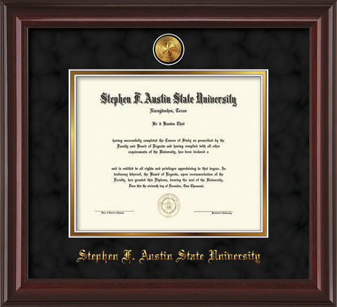 Image of Stephen F. Austin State University Diploma Frame - Mahogany Lacquer - w/24k Gold-Plated Medallion SFA Name Embossing - Black Suede on Gold mats