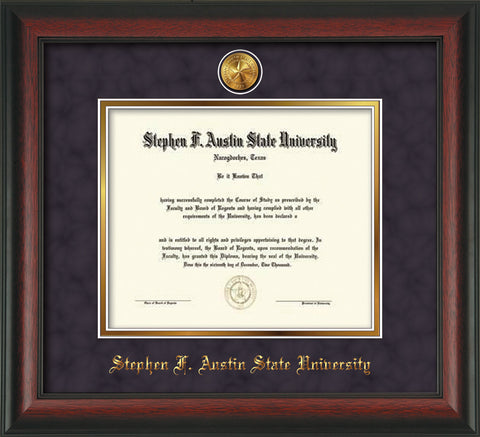 Image of Stephen F. Austin State University Diploma Frame - Rosewood - w/24k Gold-Plated Medallion SFA Name Embossing - Purple Suede on Gold mats