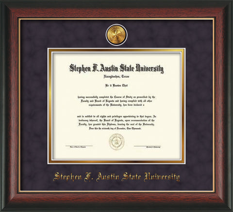 Image of Stephen F. Austin State University Diploma Frame - Rosewood w/Gold Lip - w/24k Gold-Plated Medallion SFA Name Embossing - Purple Suede on Gold mats