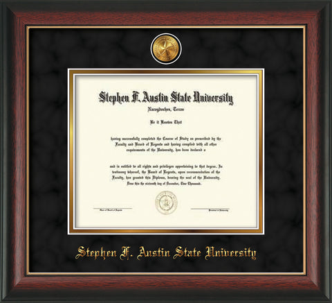 Image of Stephen F. Austin State University Diploma Frame - Rosewood w/Gold Lip - w/24k Gold-Plated Medallion SFA Name Embossing - Black Suede on Gold mats