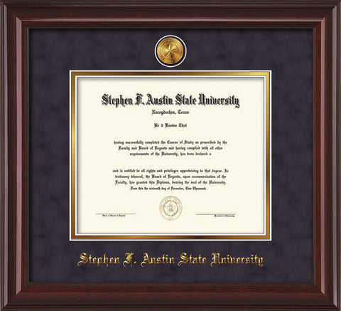 Image of Stephen F. Austin State University Diploma Frame - Mahogany Lacquer - w/24k Gold-Plated Medallion SFA Name Embossing - Purple Suede on Gold mats