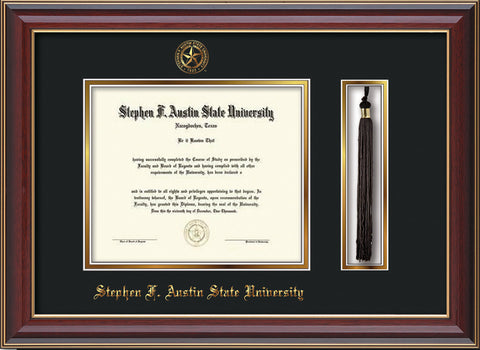 Image of Stephen F. Austin State University Diploma Frame - Cherry Lacquer - w/Embossed Seal & Name - Tassel Holder - Black on Gold mat