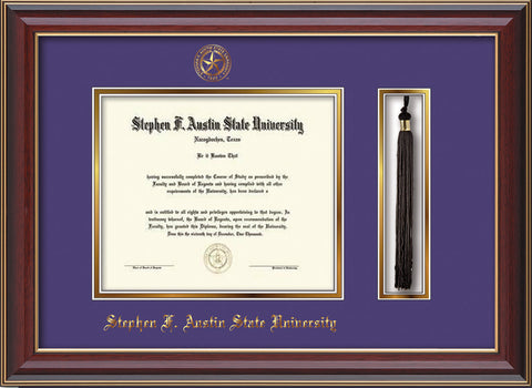 Image of Stephen F. Austin State University Diploma Frame - Cherry Lacquer - w/Embossed Seal & Name - Tassel Holder - Purple on Gold mat