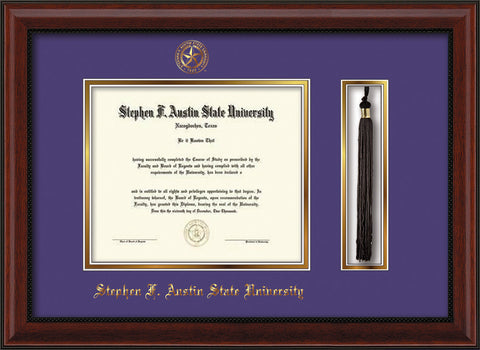 Image of Stephen F. Austin State University Diploma Frame - Mahogany Bead - w/Embossed Seal & Name - Tassel Holder - Purple on Gold mat