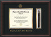 Image of Stephen F. Austin State University Diploma Frame - Mahogany Braid - w/Embossed Seal & Name - Tassel Holder - Black on Gold mat