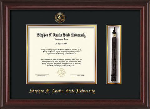 Image of Stephen F. Austin State University Diploma Frame - Mahogany Lacquer - w/Embossed Seal & Name - Tassel Holder - Black on Gold mat