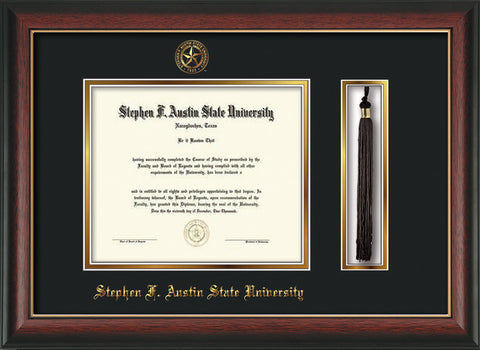 Image of Stephen F. Austin State University Diploma Frame - Rosewood w/Gold Lip - w/Embossed Seal & Name - Tassel Holder - Black on Gold mat