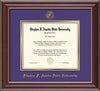 Image of Stephen F. Austin University Diploma Frame - Cherry Lacquer - w/Embossed Seal & Name - Purple on Gold mat