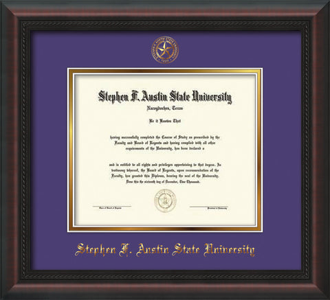 Image of Stephen F. Austin University Diploma Frame - Mahogany Braid - w/Embossed Seal & Name - Purple on Gold mat