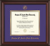 Image of Stephen F. Austin University Diploma Frame - Mahogany Lacquer - w/Embossed Seal & Name - Purple on Gold mat