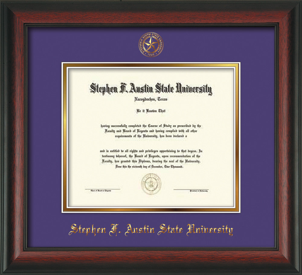 Stephen F. Austin Diploma Frame - Rosewood -Seal - Purple on Gold ...