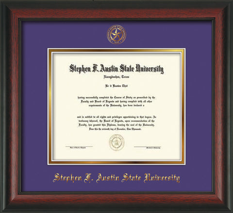 Image of Stephen F. Austin University Diploma Frame - Rosewood - w/Embossed Seal & Name - Purple on Gold mat