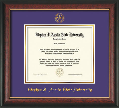 Image of Stephen F. Austin University Diploma Frame - Rosewood w/Gold Lip - w/Embossed Seal & Name - Purple on Gold mat
