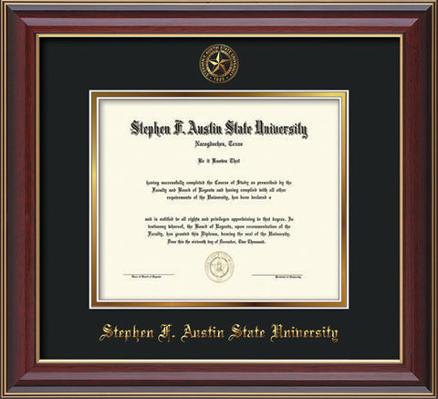 Image of Stephen F. Austin University Diploma Frame - Cherry Lacquer - w/Embossed Seal & Name - Black on Gold mat