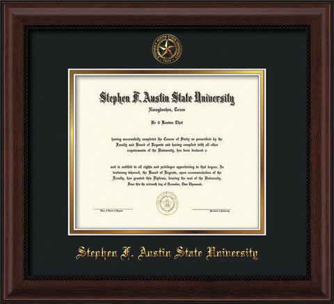 Image of Stephen F. Austin University Diploma Frame - Mahogany Bead - w/Embossed Seal & Name - Black on Gold mat