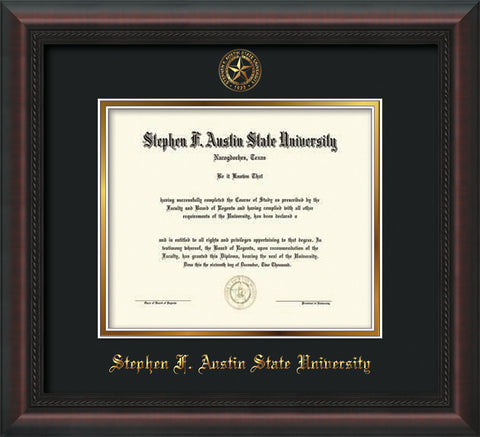 Image of Stephen F. Austin University Diploma Frame - Mahogany Braid - w/Embossed Seal & Name - Black on Gold mat