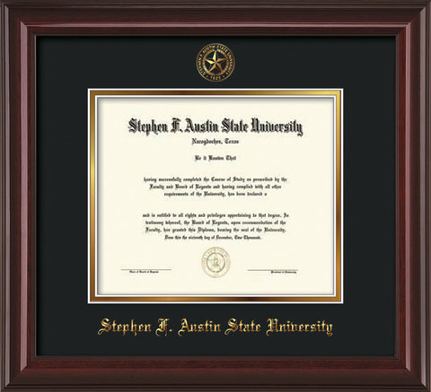 Image of Stephen F. Austin University Diploma Frame - Mahogany Lacquer - w/Embossed Seal & Name - Black on Gold mat