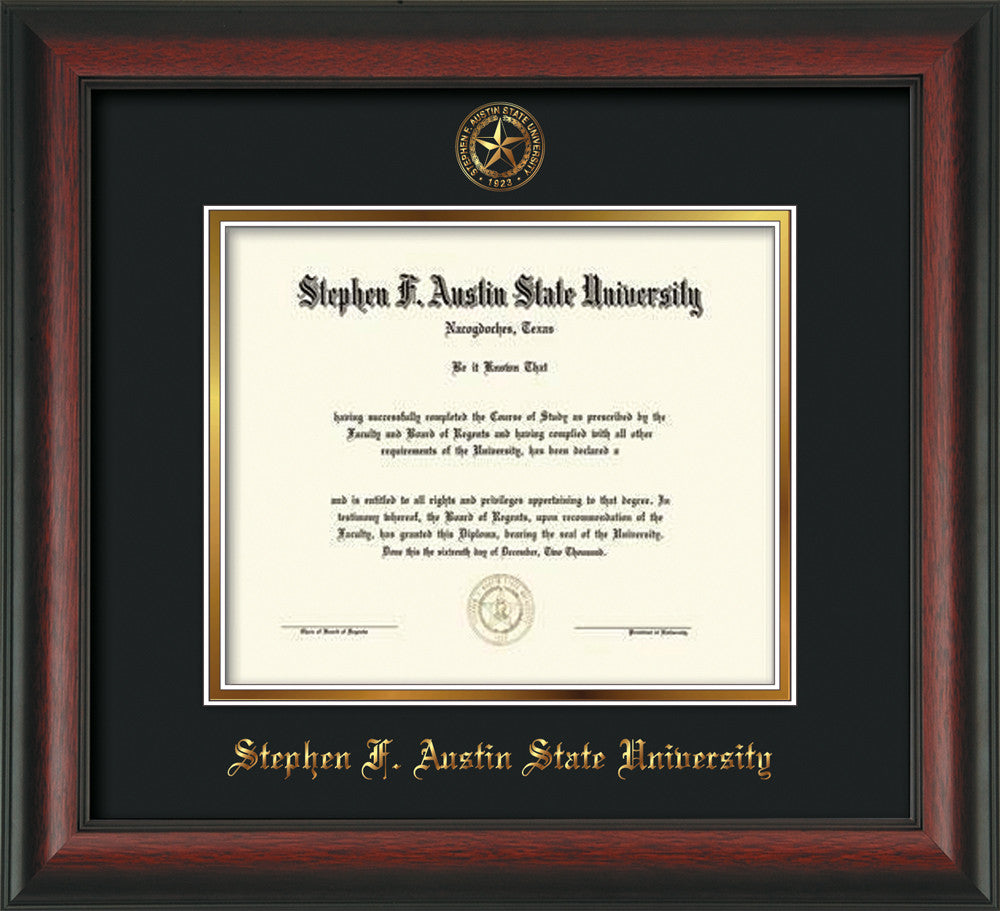 Stephen F. Austin Diploma Frame - Rosewood -Seal - Black on Gold ...