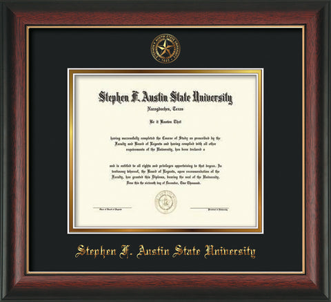 Image of Stephen F. Austin University Diploma Frame - Rosewood w/Gold Lip - w/Embossed Seal & Name - Black on Gold mat