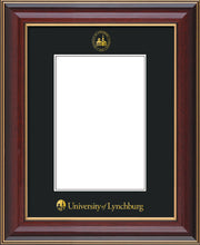 Image of University of Lynchburg 5 x 7 Photo Frame - Cherry Lacquer - w/Official Embossing of UL Seal & Name - Single Black mat