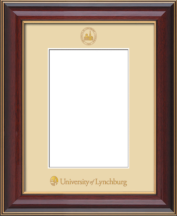 Image of University of Lynchburg 5 x 7 Photo Frame - Cherry Lacquer - w/Official Embossing of UL Seal & Name - Single Cream mat