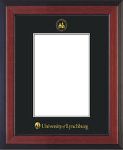 Image of University of Lynchburg 5 x 7 Photo Frame - Cherry Reverse - w/Official Embossing of UL Seal & Name - Single Black mat